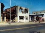 Enlarge: Aftermath of Floyd: Burned out stores in South Bound Brook.